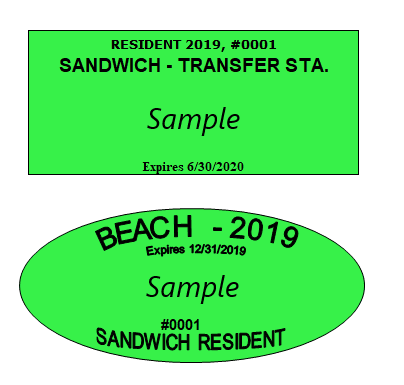 2019 beach & transfer station stickers