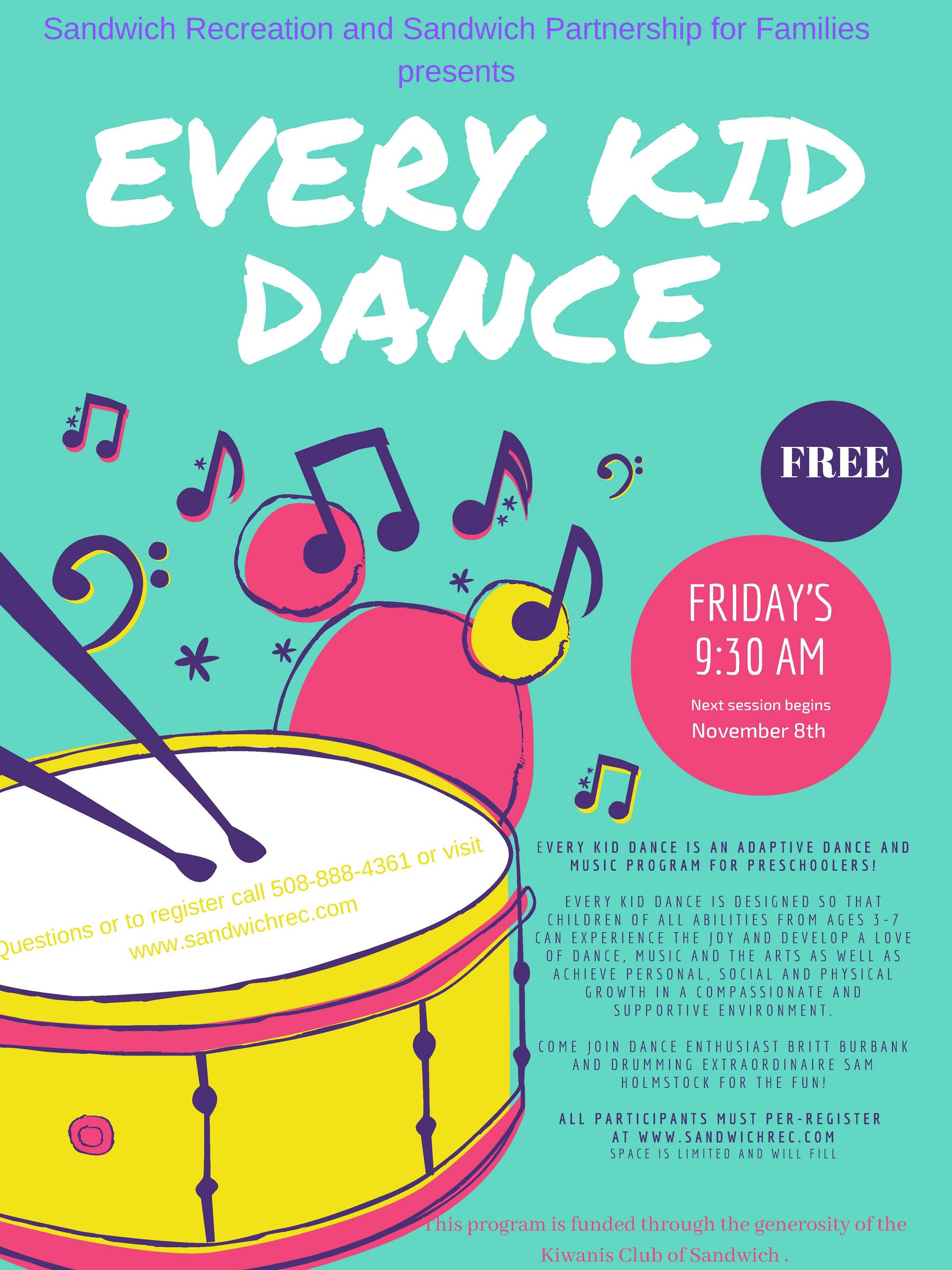 Every Kid Dance fall 2019 Flyer